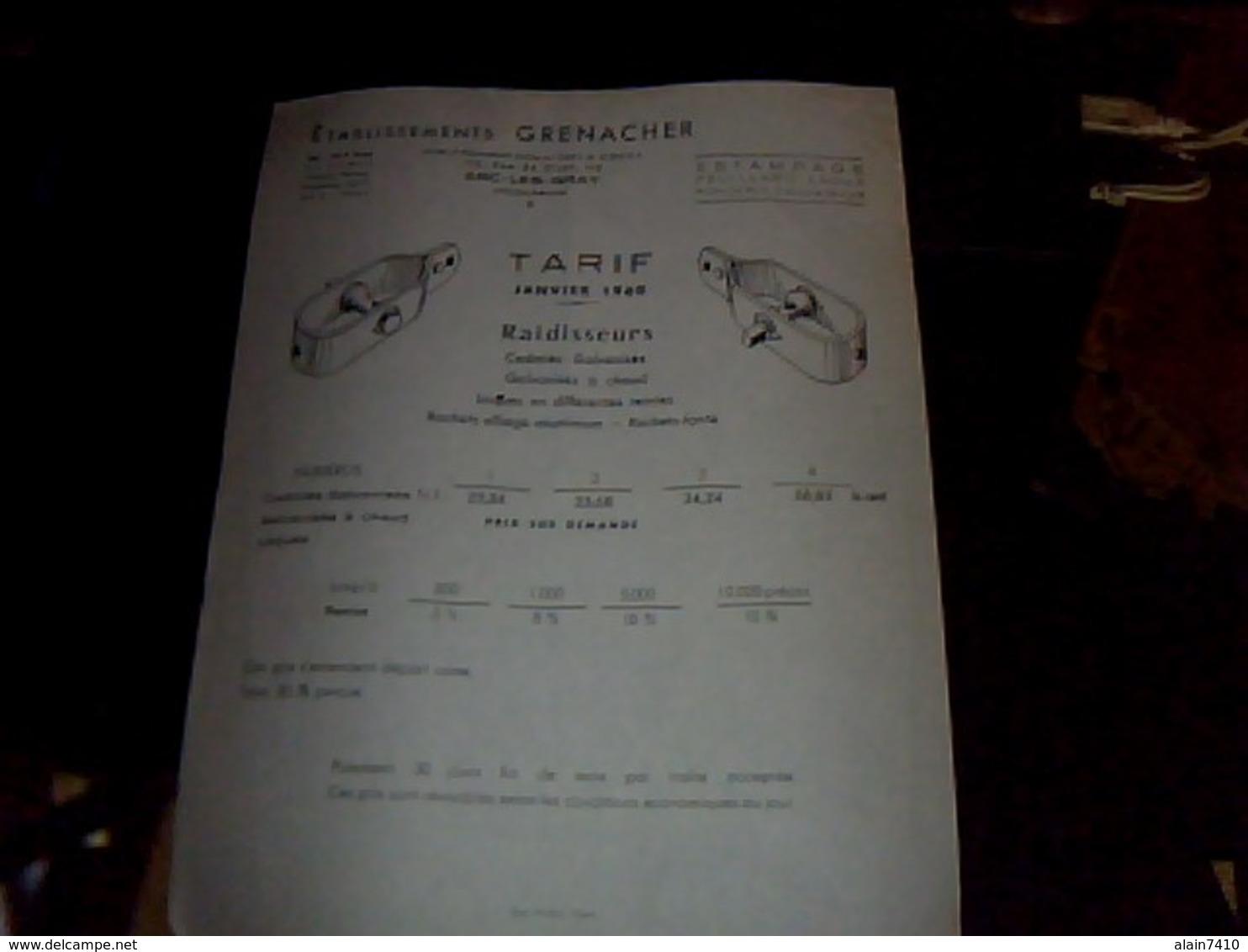 Publicite  Tract  Ets  Grenacher A Arc Les Gray RAIDISSEURS Cadmiés Galvanises   POUR CLOTURE  Annee 1960 - Publicités