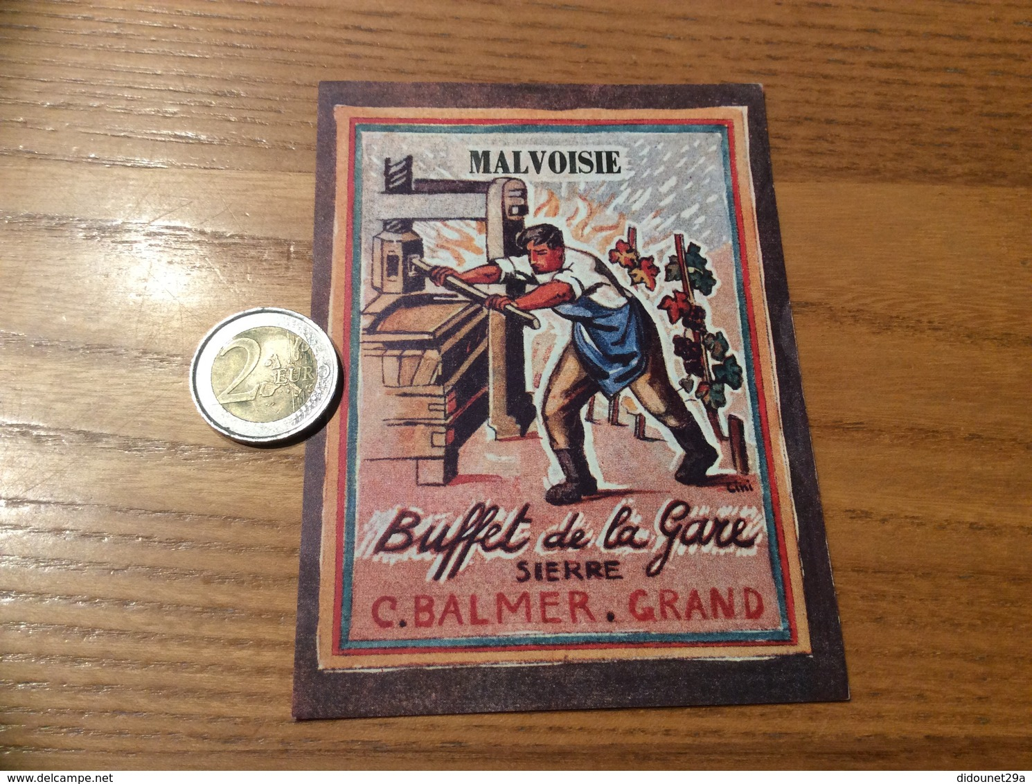 Etiquette Vin Suisse «MALVOISIE -C.BALMER GRAND - Buffet De La Gare SIERRE » - White Wines