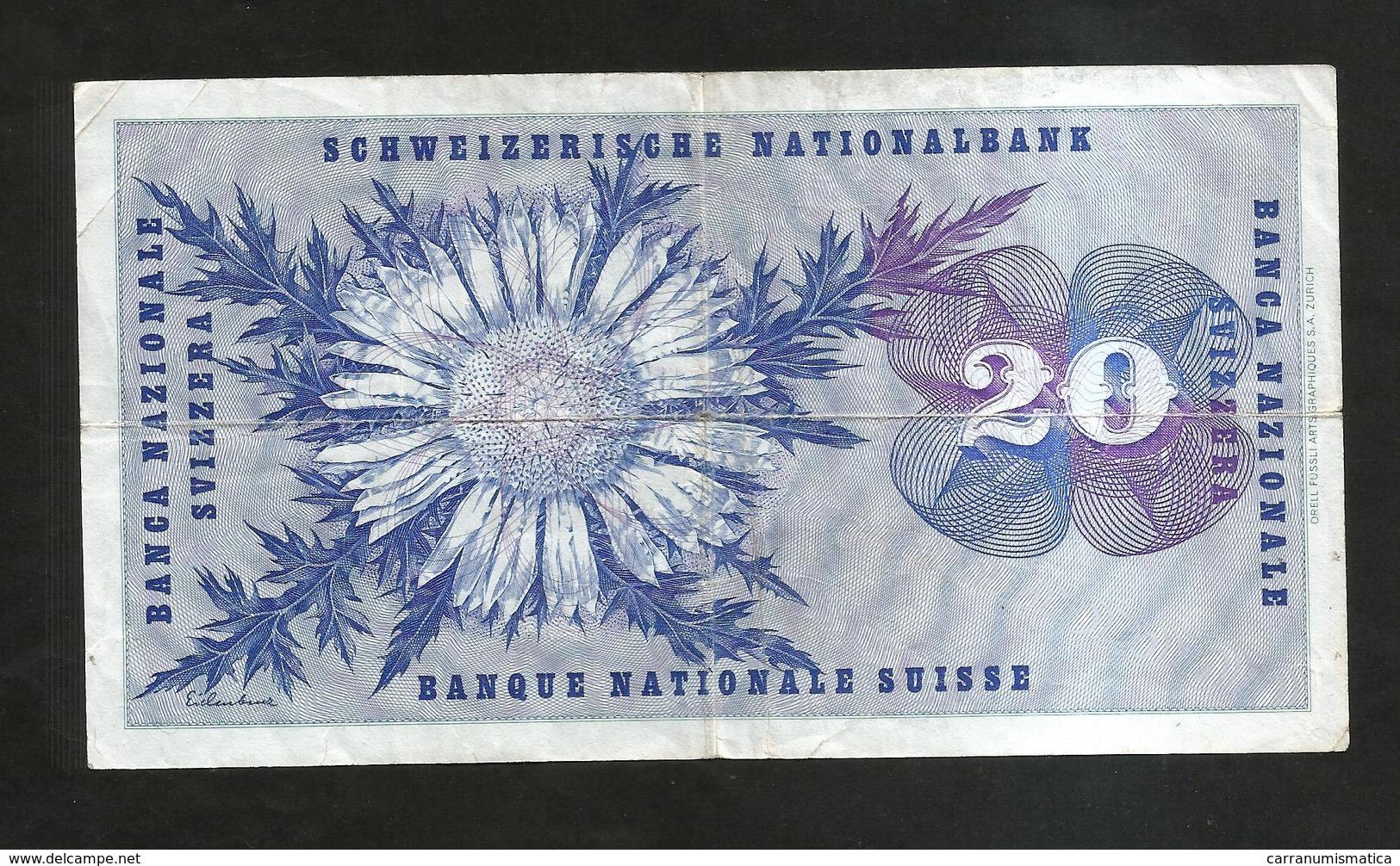 SVIZZERA / SUISSE / SWITZERLAND - NATIONAL BANK - 20 FRANCS / FRANKEN (1973)  H. DUFOUR - Svizzera