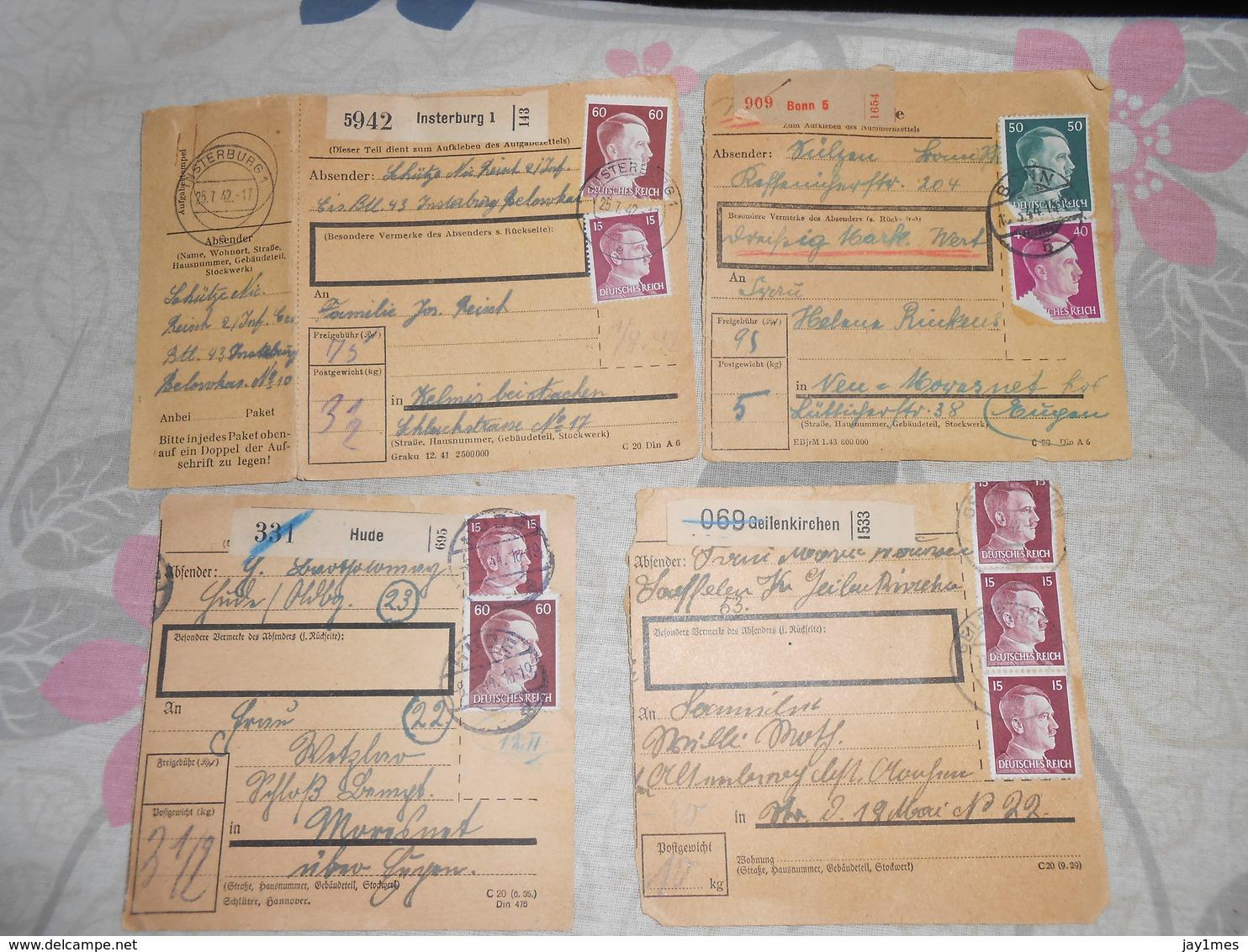 7 Paketkarte Deutschland Vers Moresnet Kelmis De Hude Insterburg Zeithain Brunscappel - WW II