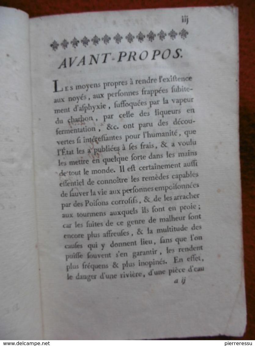 NAVIER MEDECINE PRECIS DES MOYENS DE SECOURIR LES PERSONNES EMPOISONNÉES PAR LES POISONS CORROSIFS NAVIER 1783 - 1701-1800