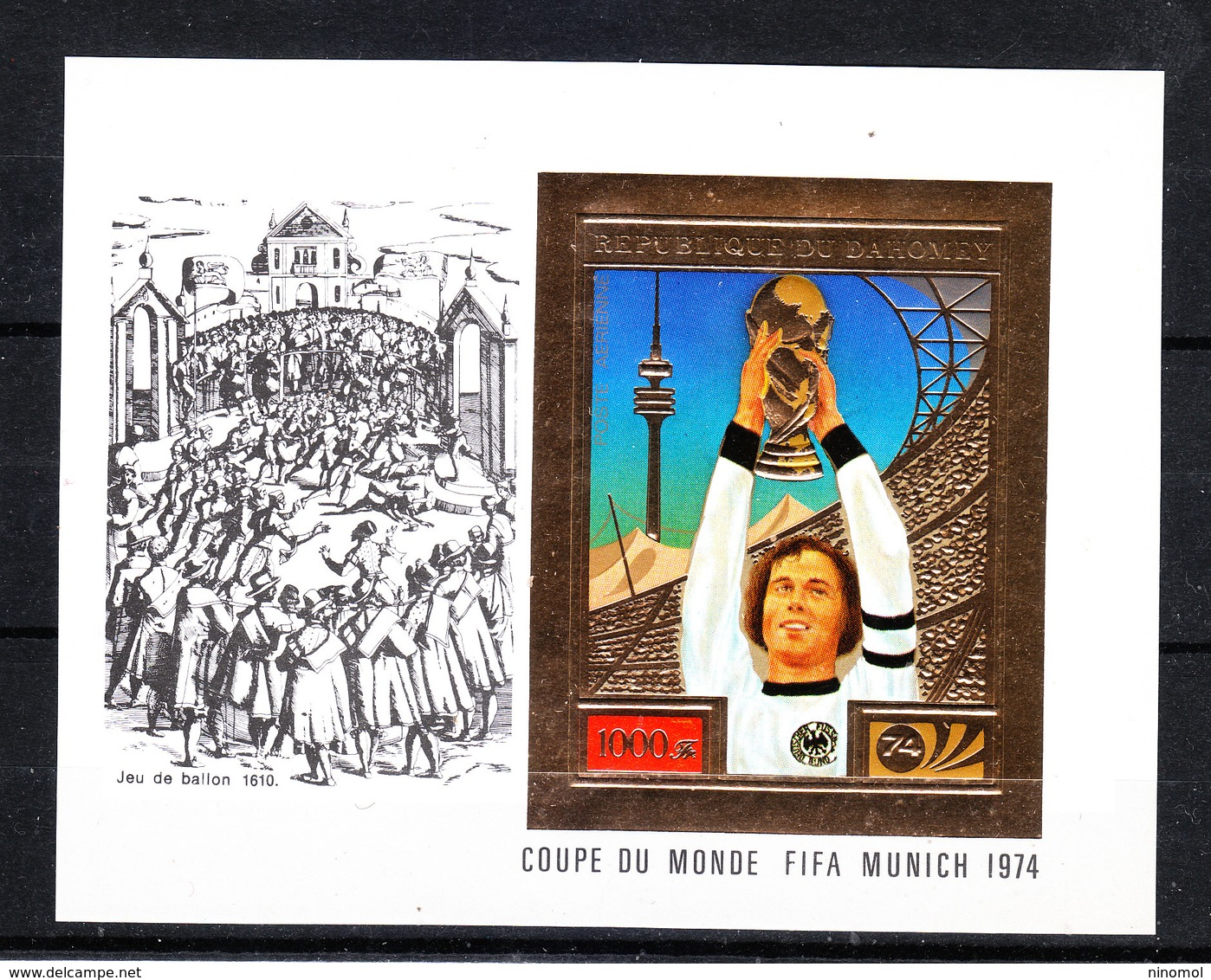 Dahomey  -  1974. Beckenbauer Solleva Coppa Rimet. Beckenbauer Raises  Rimet Cup. Rare Imperf. MNH - Coppa Del Mondo