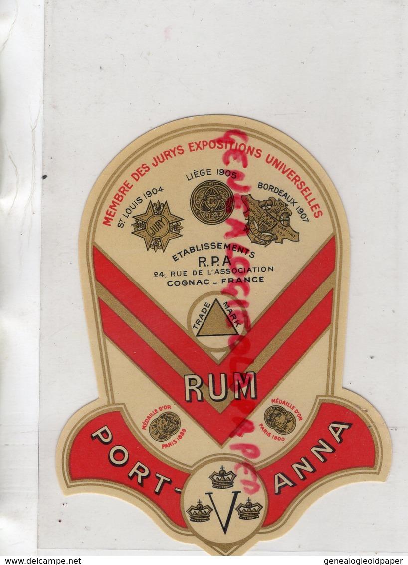 16- COGNAC - ETIQUETTE RHUM PORT ANNA- RUM- - Rhum