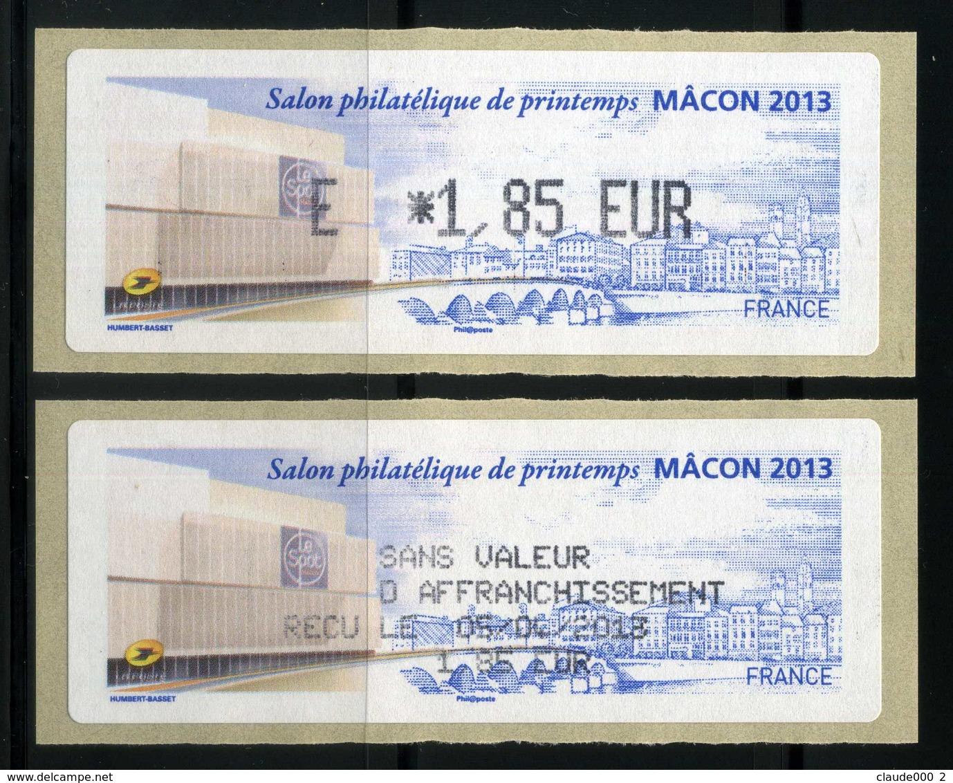 LISA 1,85e   SALON PHILATELIQUE DE PRINTEMPS  MACON 2013  NEUVE ** - 2010-... Geïllustreerde Frankeervignetten