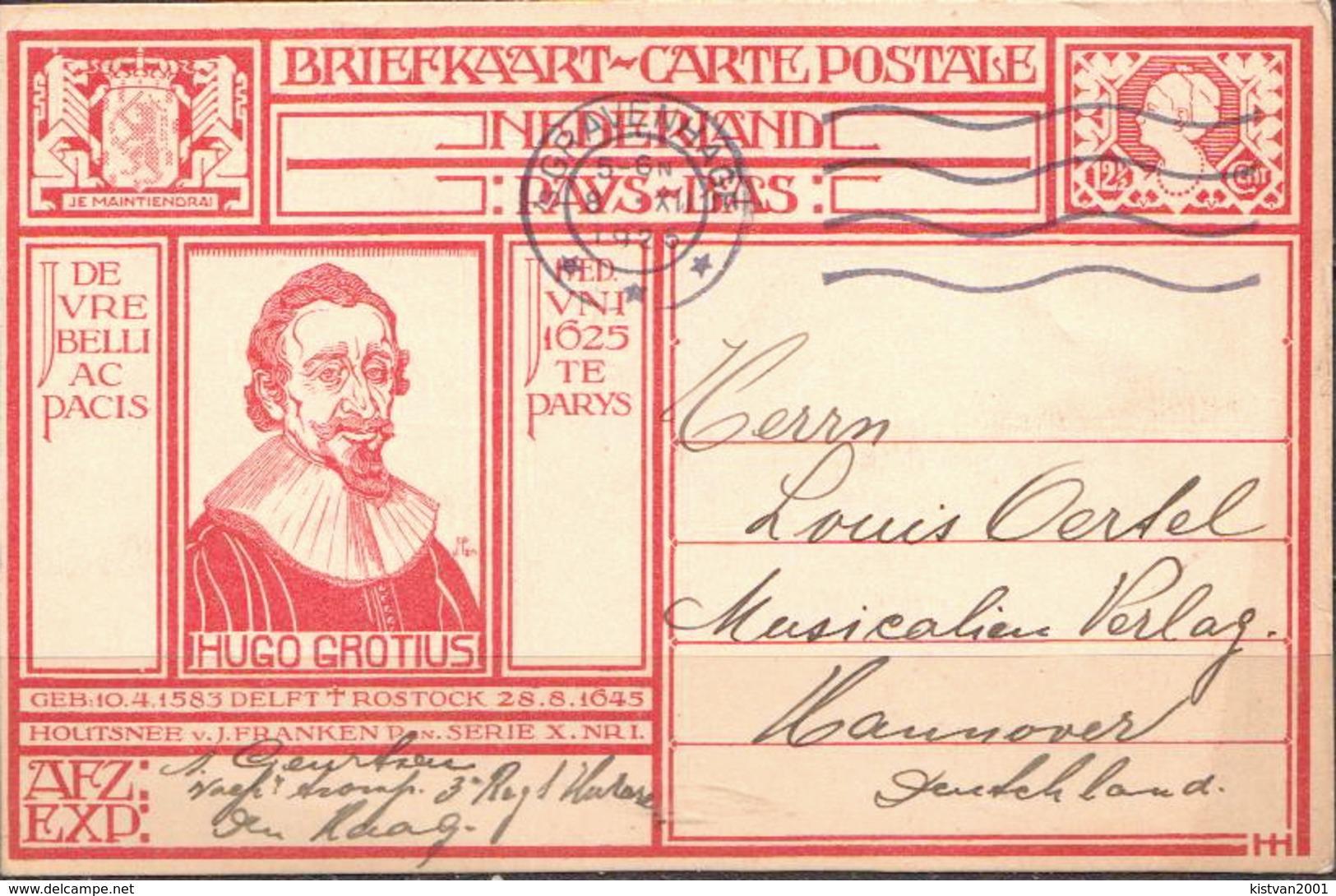 Postal History: Netherlands Postal Stationary From 1925 Hugo Grotius - Postal Stationery