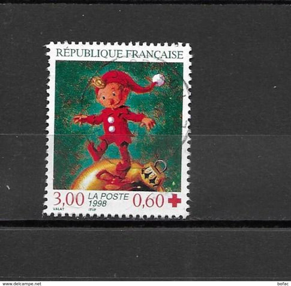"""3199  OBL  Y & T BELLE OBLIT    Lutin Marchand Sur Une Boule De Neige   """"Au Profit De La Croix Rouge""""  *FRANCE*   15A/35 - Used Stamps"""