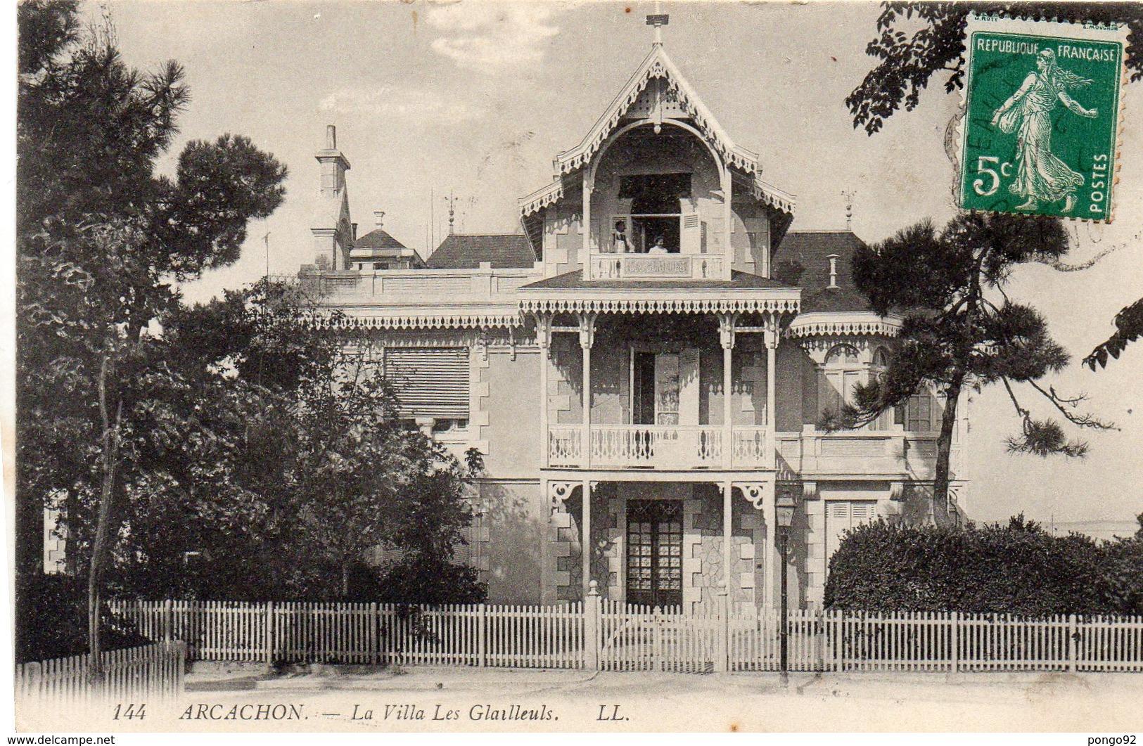Cpa 1912 ?, ARCACHON, Villa Les Glaiïeuls  (53.55) - Arcachon