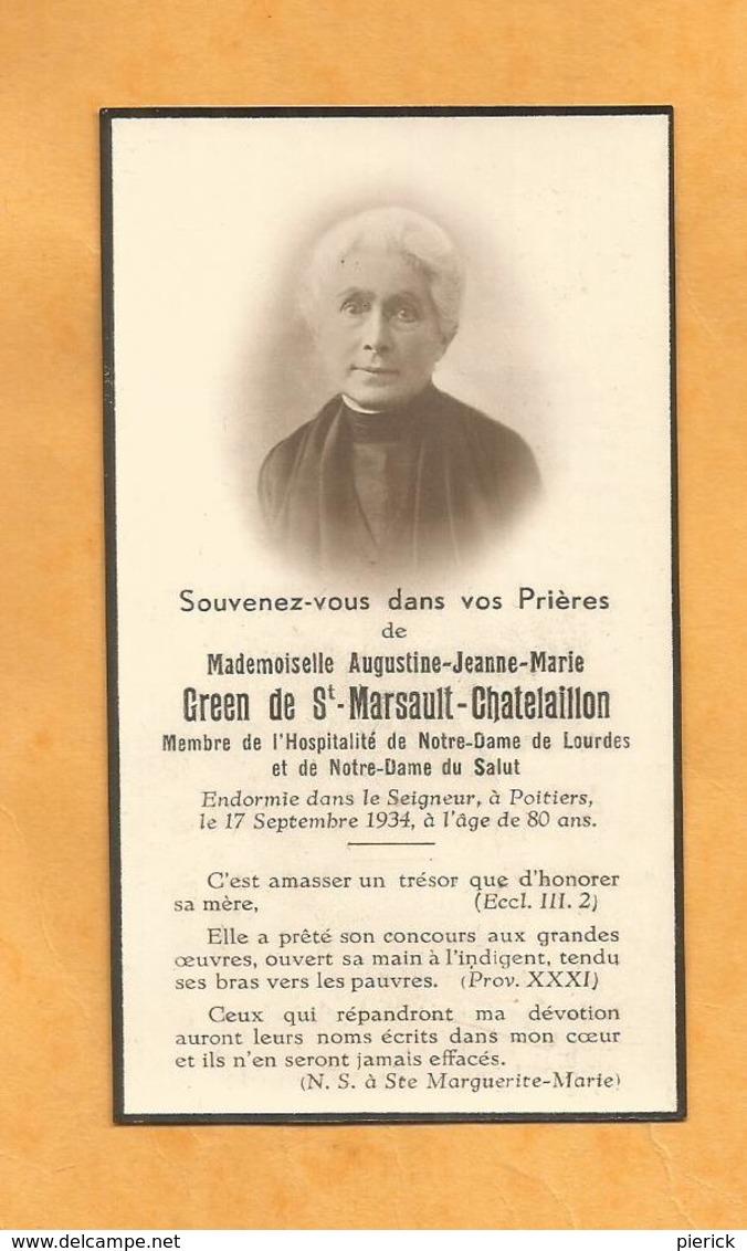 IMAGE GENEALOGIE FAIRE PART  DECES CARTE MORTUAIRE GREEN DE ST MARSAULT CHATELAILLON POITIERS  1854 1934 - Décès
