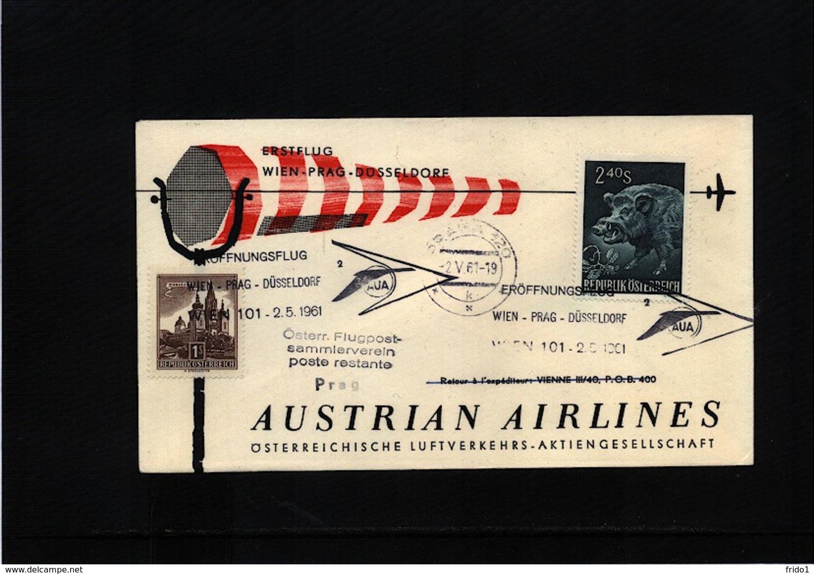 Austria / Oesterreich 1961 Austrian Airlines First Flight Wien - Prague - Premiers Vols AUA