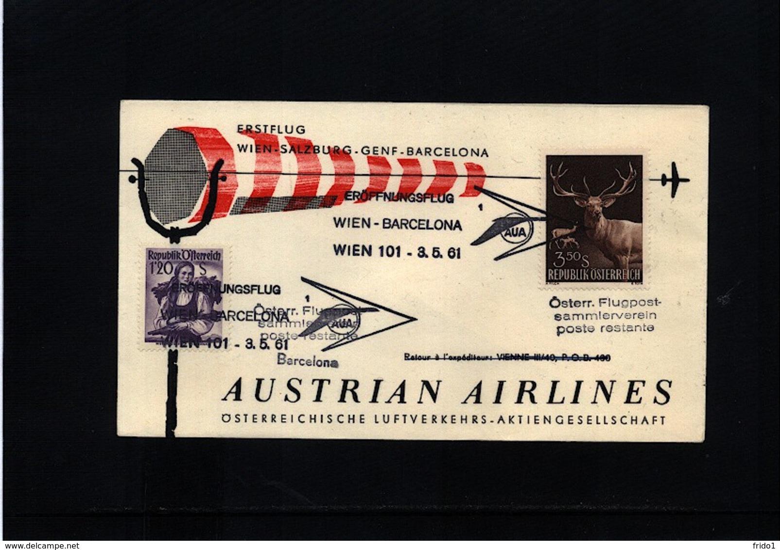 Austria / Oesterreich 1961 Austrian Airlines First Flight Wien - Barcelona - Premiers Vols AUA