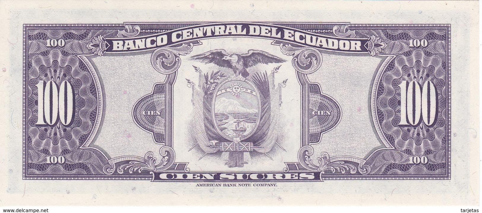 ¡NUMERO MUY BAJO! 00000026 BILLETE DE ECUADOR DE 100 SUCRES DEL AÑO 1980 SIN CIRCULAR-UNCIRCULATED (BANKNOTE) - Ecuador