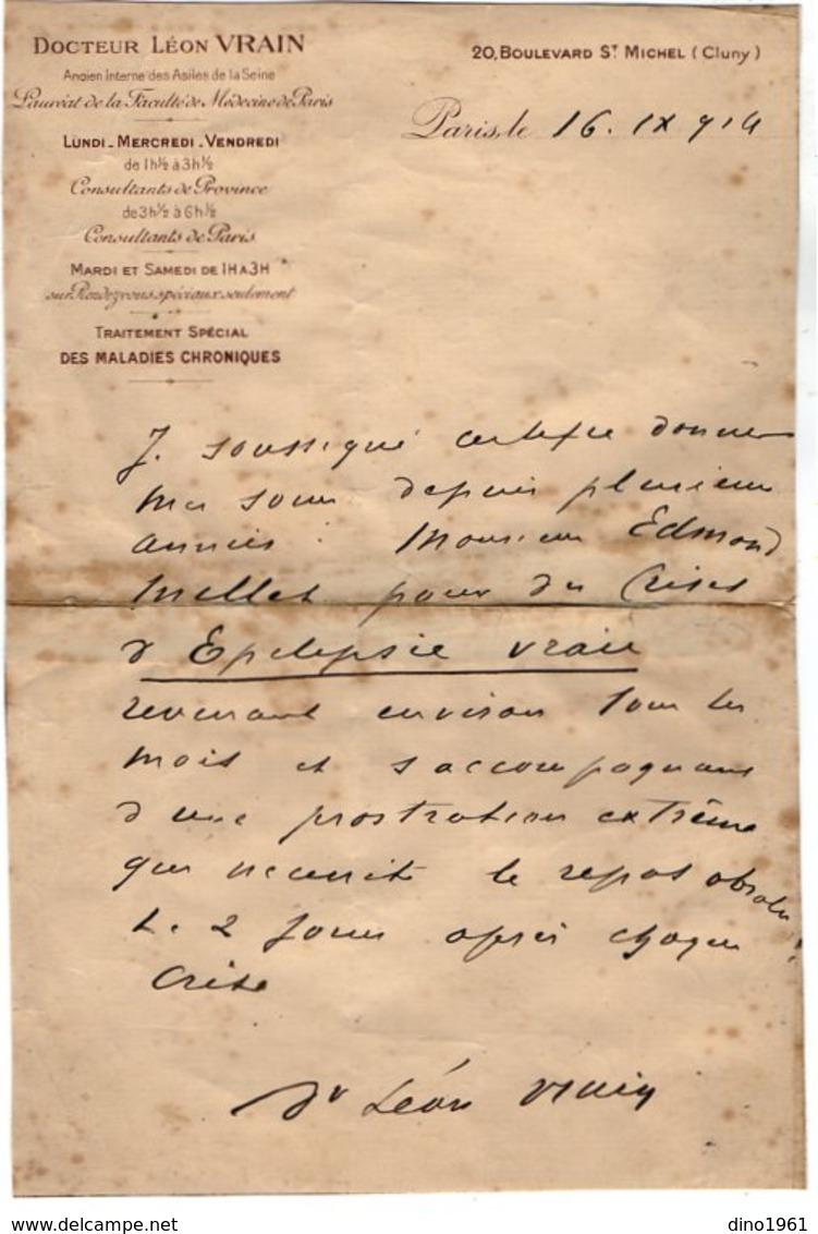 VP13.661 - 1914 - Lettre De Mr Le Docteur Léon VRAIN à PARIS - Old Paper