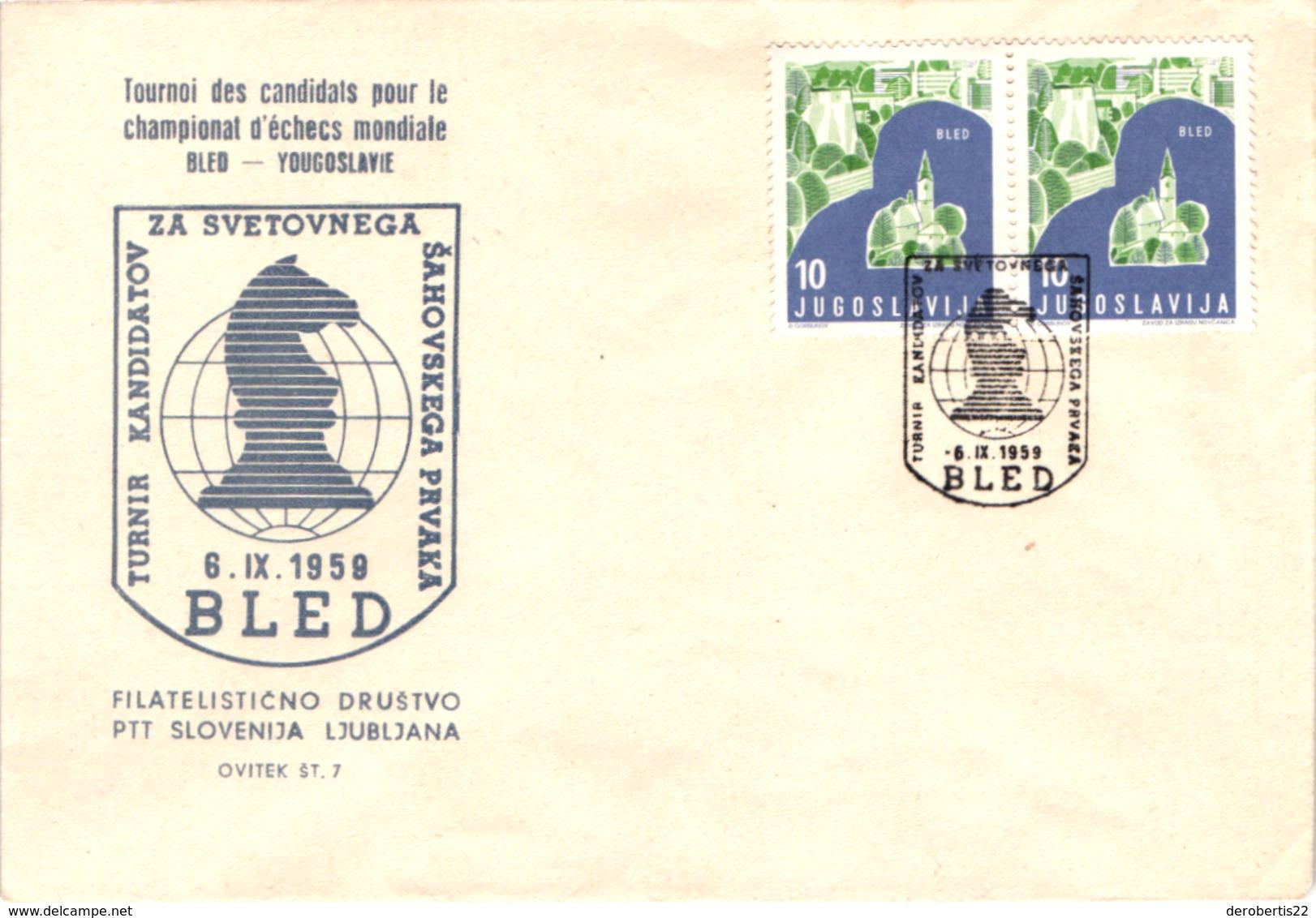 Chess Schach Echecs Ajedrez - Yugoslavia. Bled 1959 Candidates Tournament - Souvenir Cover CKM 68a - Scacchi