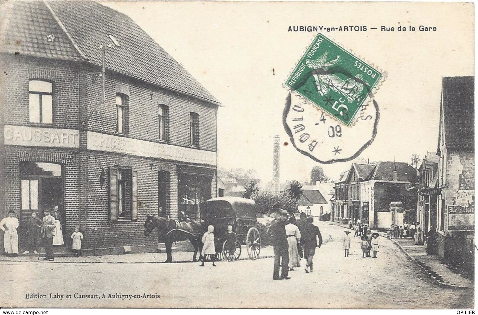 Aubigny An Artois Rue De La Gare Animée Voiture Chavel Charette Convoyeur Ligne Boulogne à Arras 1909 - Aubigny En Artois