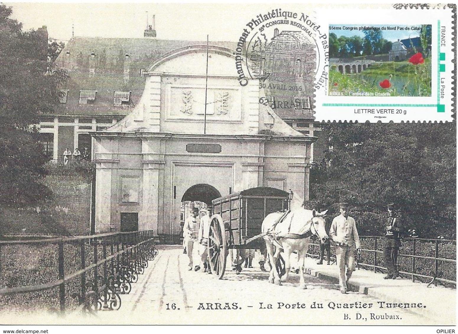 Arras Championnat Régional De Philatélie 2016 Sur Carte Postale La Porte Du Quartier Turenne Timbreàmoi - Marcophilie (Lettres)