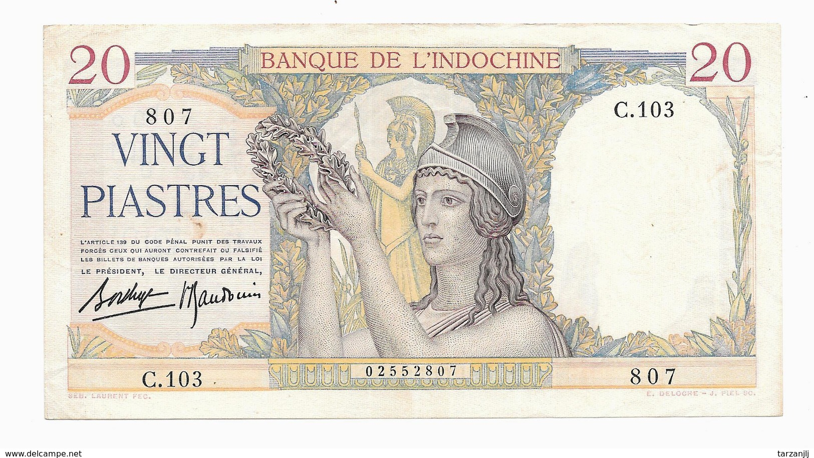 Billet De 20 Piastres Banque De L'Indochine 1936 SUP (French Indochina) - Indochine
