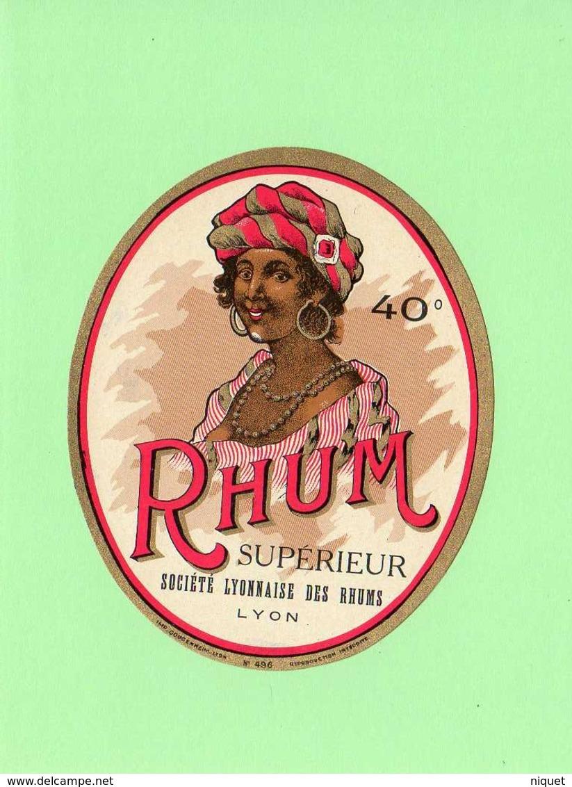 Etiquette Rhum Supérieur, Société Lyonnaise Des Rhums, 12x10 Cm, Femme Créole. - Rhum