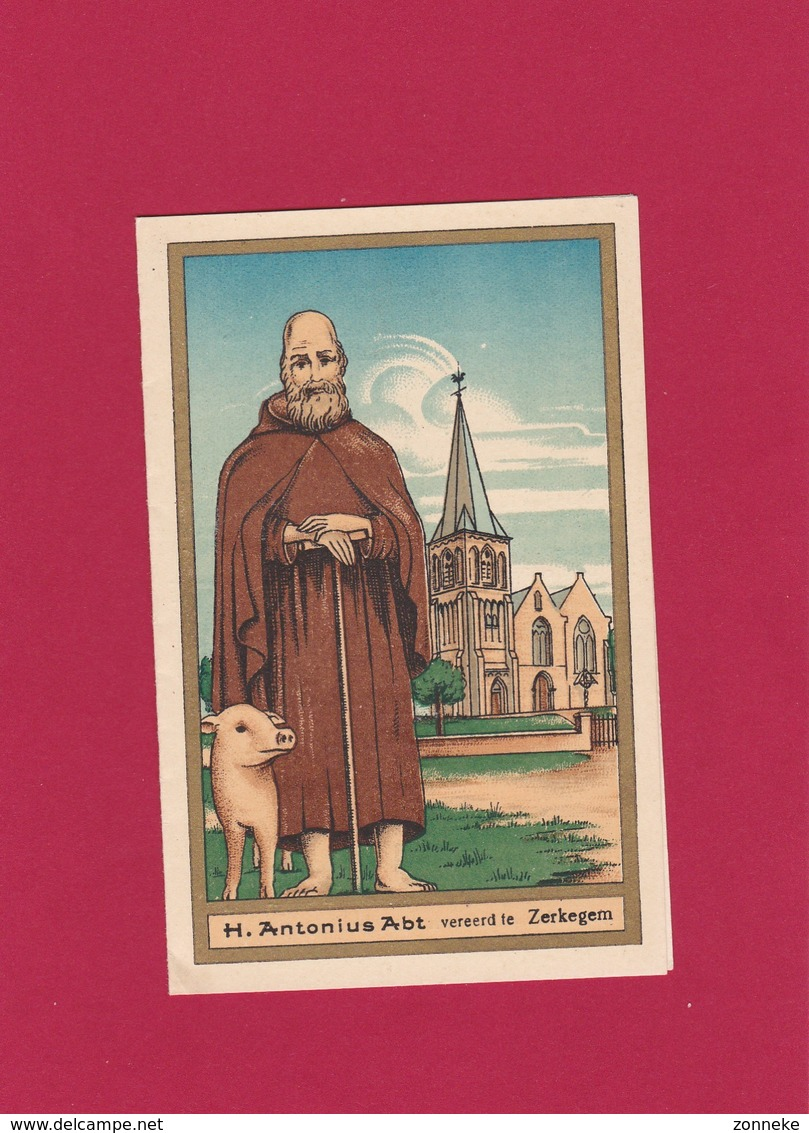 Neogotische Devotieprent  H. Antonius Abt - Religion & Esotericism