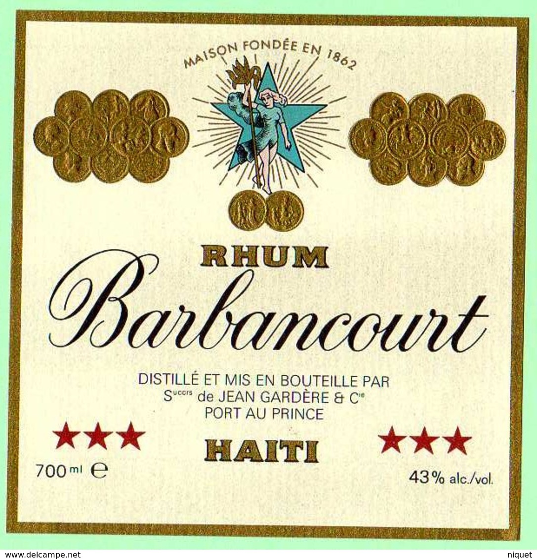 Etiquette Rhum Barbancourt, Haïti, Jean Gardère, Port Au Prince, 10x10 Cm - Rhum