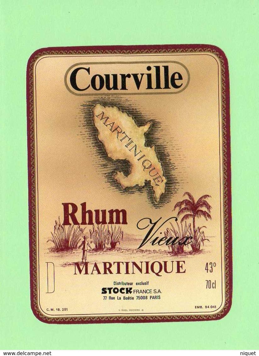Etiquette Rhum Vieux Martinique, Rare De Courville, 14x10.5 Cm - Rhum