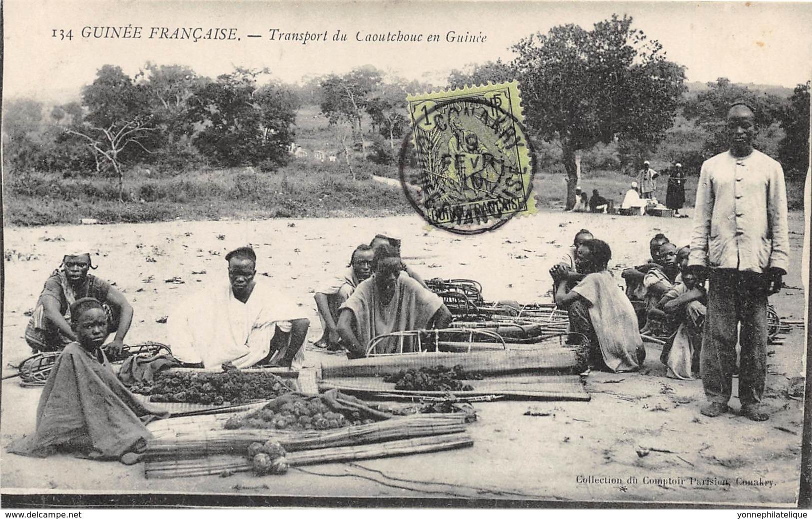 Guinée  Française / Ethnic - Belle Oblitération - 90 - Transport Du Caoutchouc - Französisch-Guinea