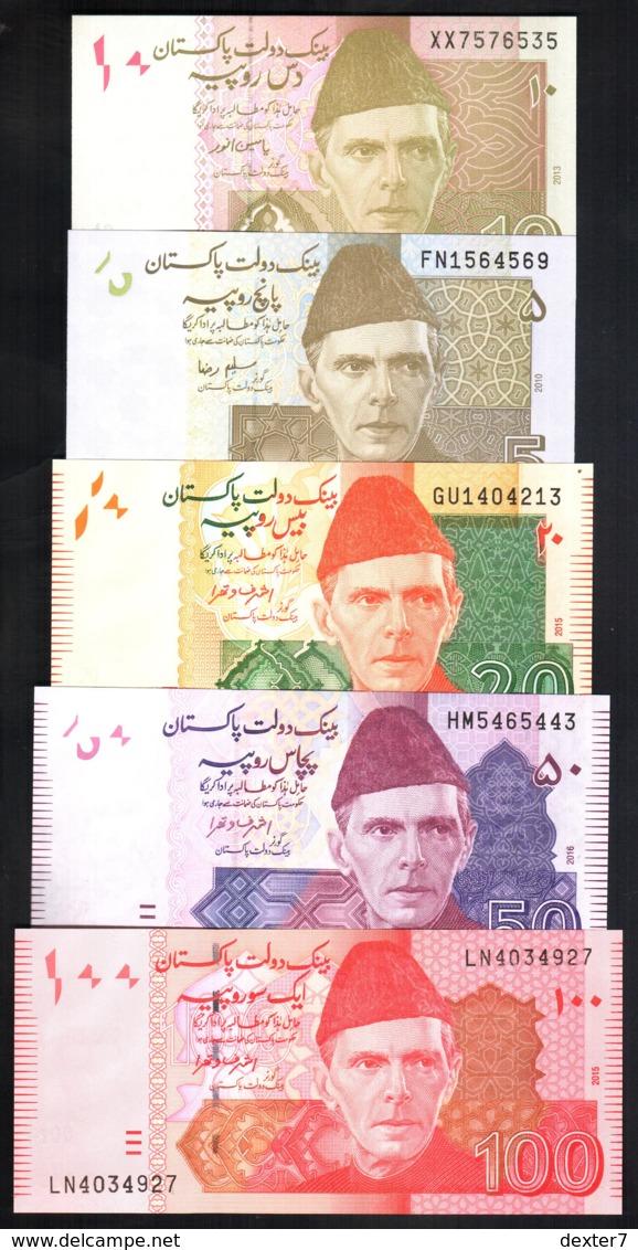 Pakistan 5, 10, 20, 50, 100 Rupie 2010-2016 FDS UNC Rupee Pinholes - Pakistan