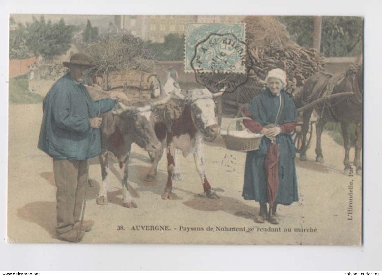 NOHANENT (63 - Puy De Dôme) - 1905 - Paysans Se Rendant Au Marché - Attelage De Boeufs - Colorisée - Animée - Attelages