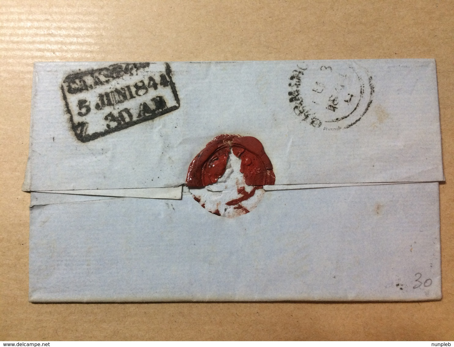 GB Victoria 1844 Wrapper Birmingham To Glasgow - Good 3 Line Boxed Glasgow Mark To Rear Tied With 1d Red Imperf - 1840-1901 (Victoria)