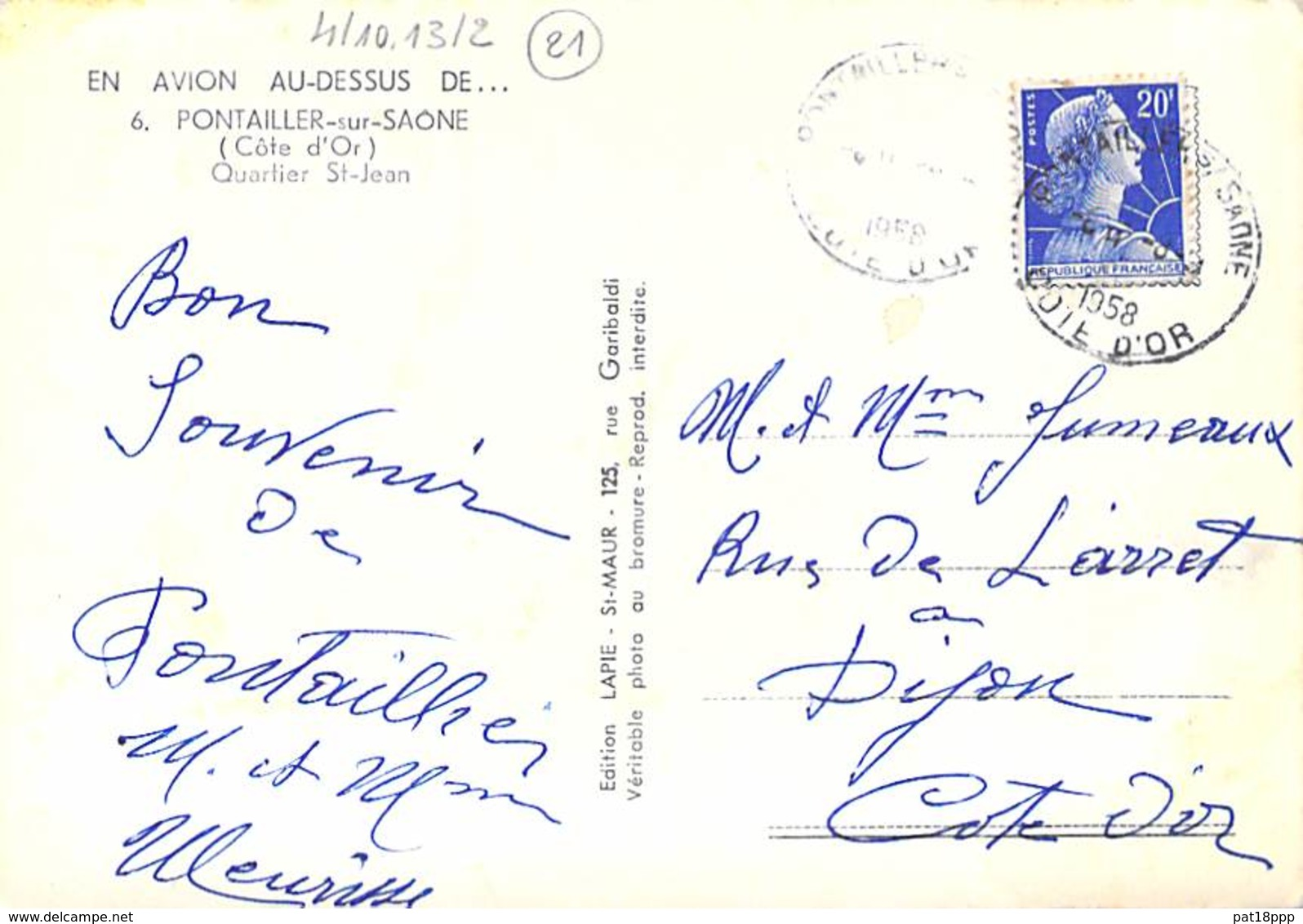 21 - PONTAILLER  : Quartier Saint Jean - CPSM Dentelée Noir Et Blanc Grand Format 1958 - Côte D'Or - Autres Communes