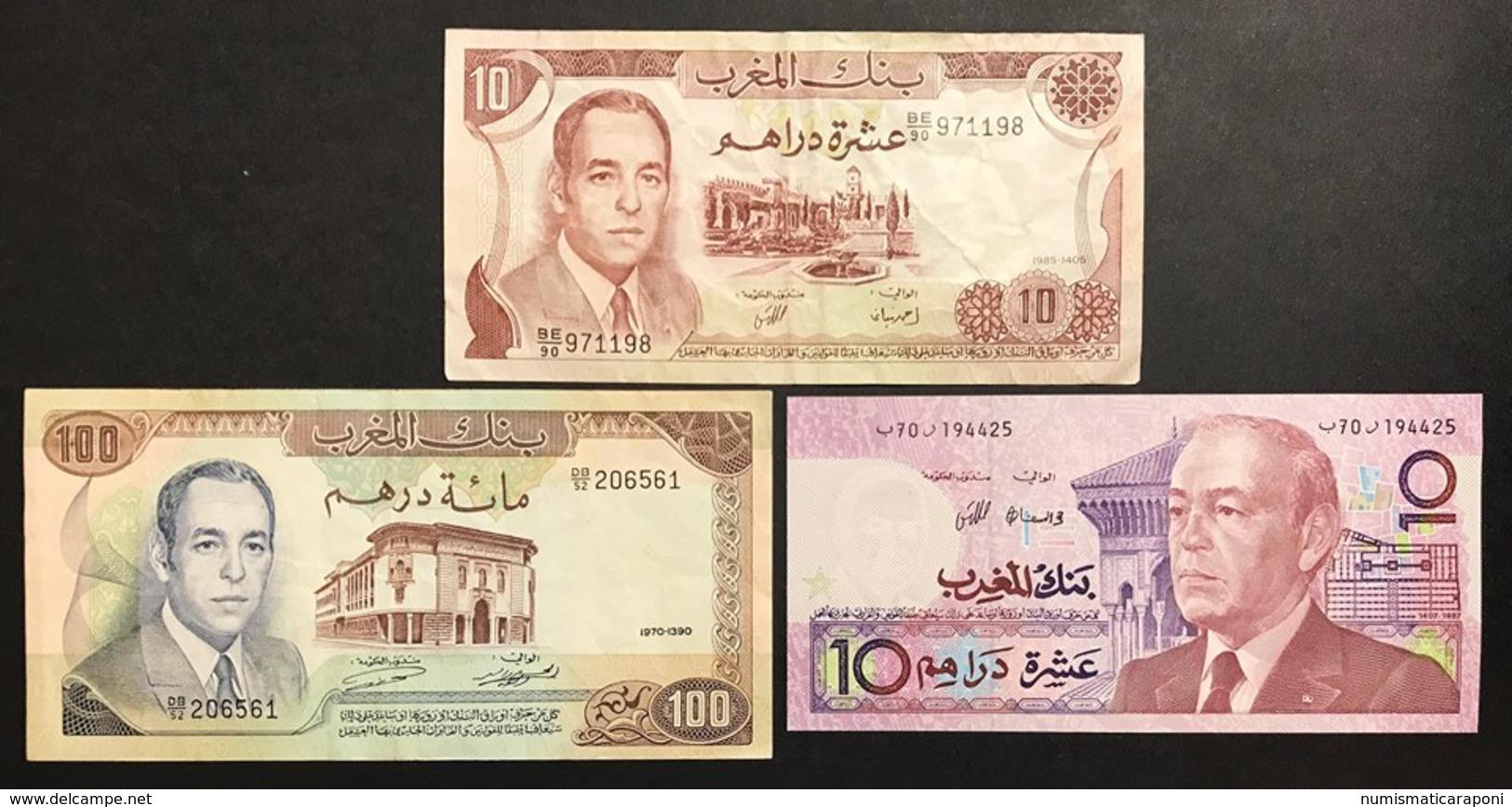Marocco 3 Banconote 100 1970 + 10 1985 + 10 1987 Lotto 2350 - Maroc