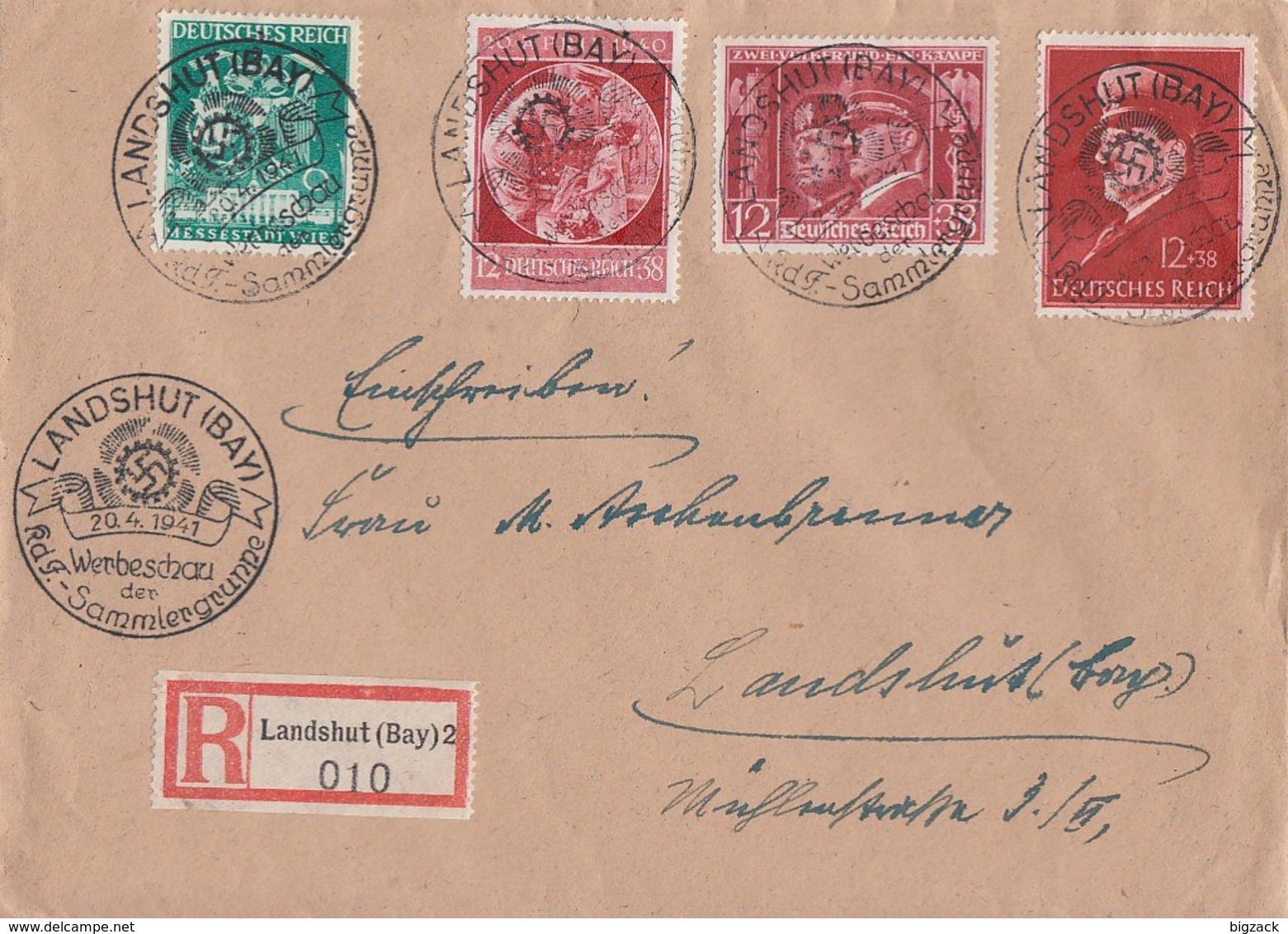 DR R-Brief Mif Minr.744,763,769,772 SST Landshut 20.4.41 - Briefe U. Dokumente