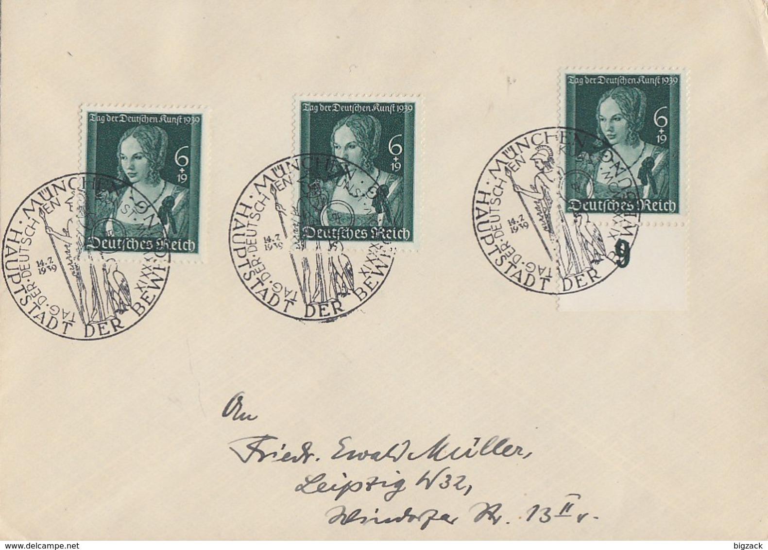DR Brief Mef Minr.3x 700 SST München 14.7.39 - Deutschland