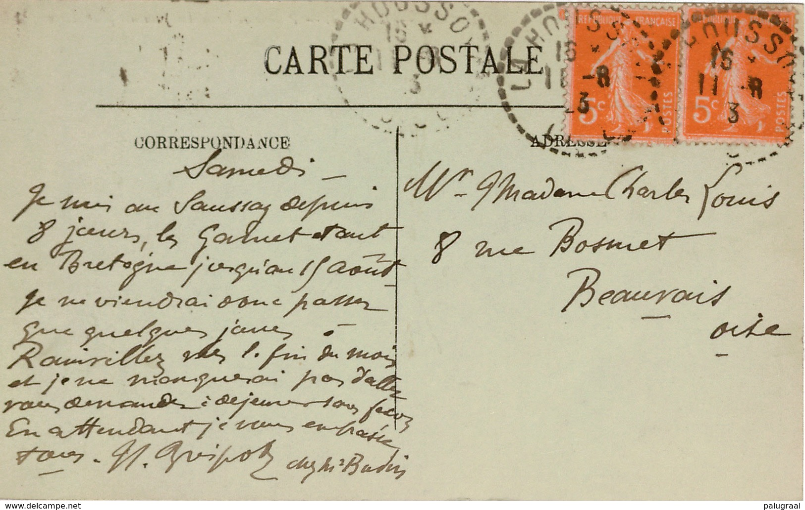 Cpa 60 LE SAUSSAY Par LA HOUSSOYE  Tel 3  Prairie Et Boxes Des Juments Poulinières , Peu Courante - Frankreich