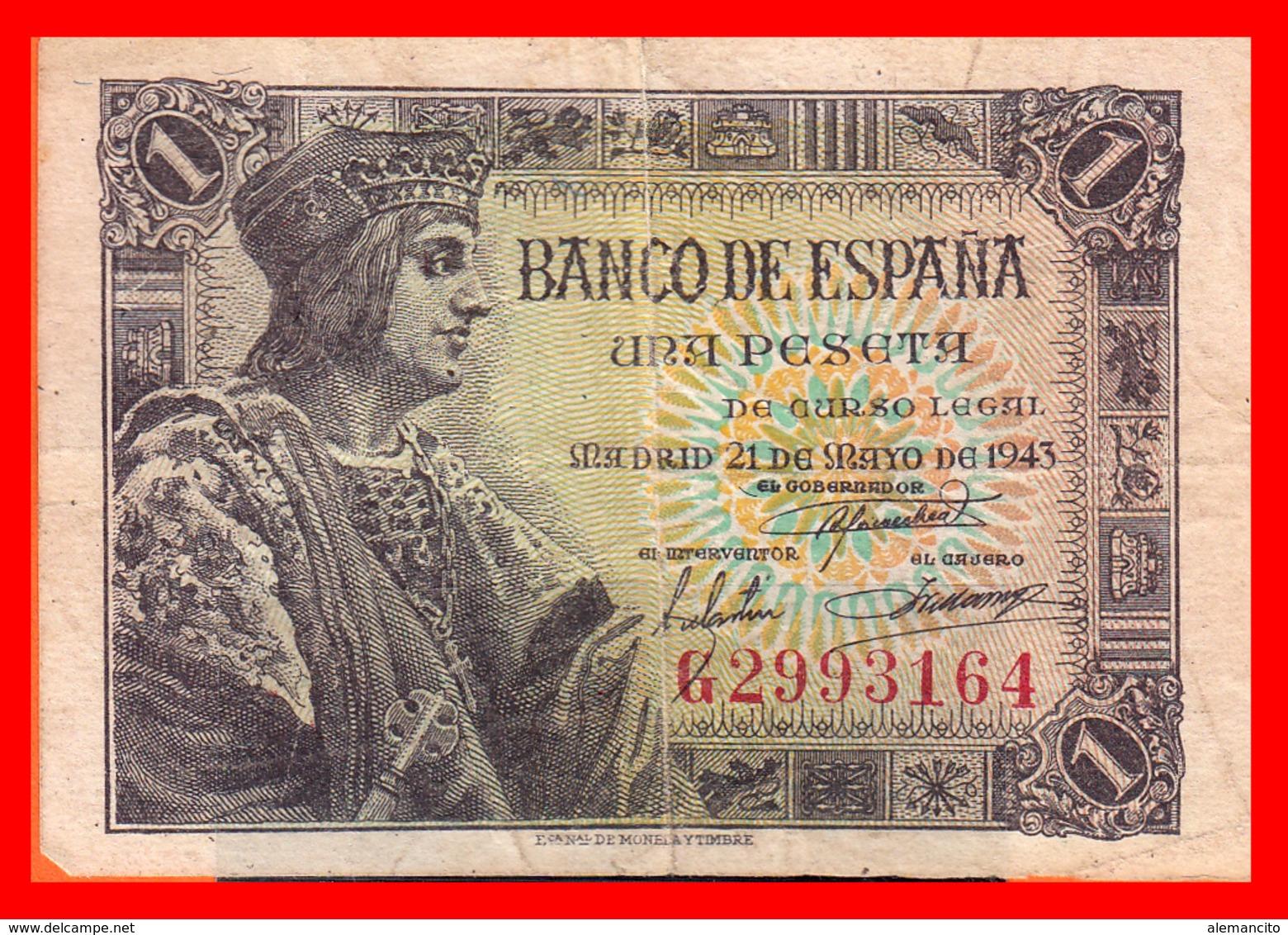 ESPAÑA BILLETE DE 1 PESETA 21 DE MAYO DE 1943. SERIE ,, G 2993164 ,, - 1-2 Pesetas