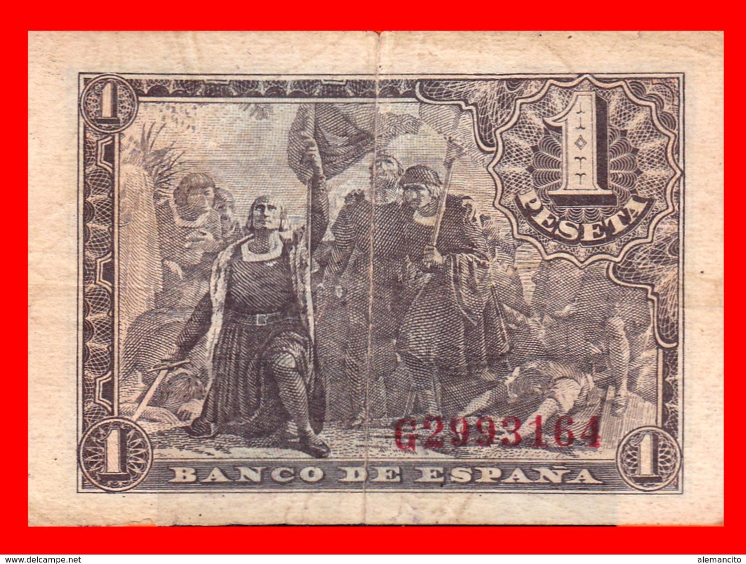 ESPAÑA BILLETE DE 1 PESETA 21 DE MAYO DE 1943. SERIE ,, G 2993164 ,, - [ 3] 1936-1975 : Régence De Franco