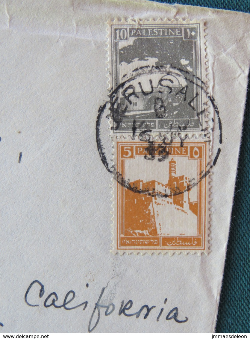 Palestine 1933 (?) Cover Jerusalem To USA - Palestine