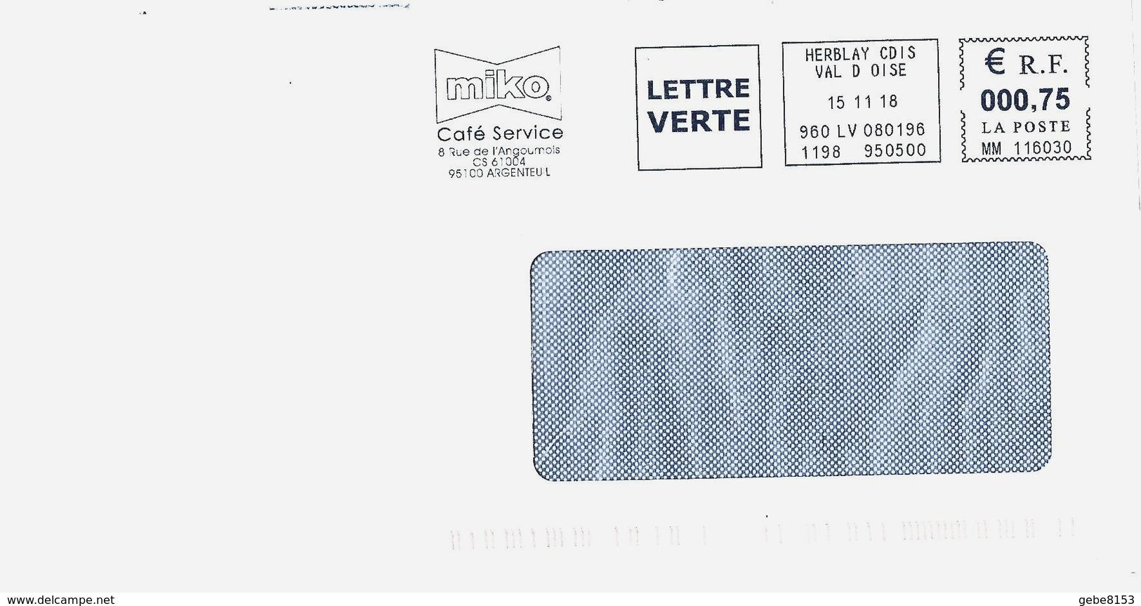 EMA MM 116030 Val D'oise + Flamme Miko Argenteuil Café Service - Marcofilie (Brieven)