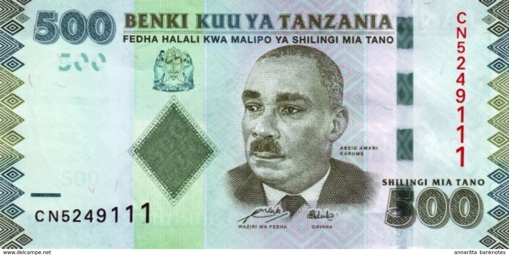 TANZANIA 500 SHILLINGS ND (2011) P-40a UNC [TZ139a] - Tanzanie