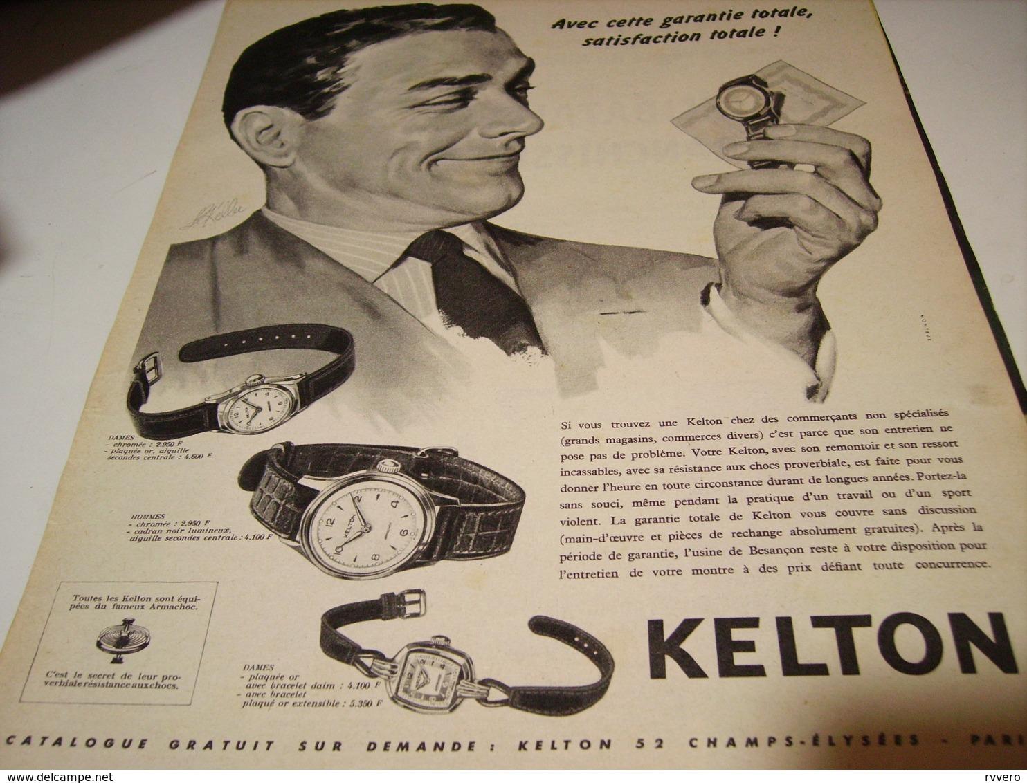 ANCIENNE PUBLICITE GARANTI TOTAL  MONTRE KELTON   1958 - Bijoux & Horlogerie