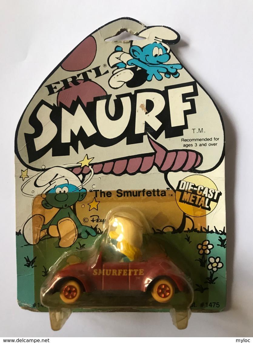 Schtroumpf.The Smurfetta. Smurfette. Die Cast Metal. Voiture Miniature Dans Son Emballage. - Schtroumpfs