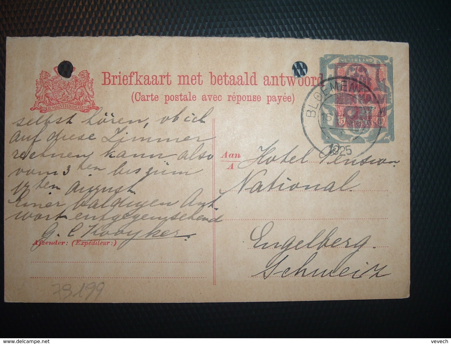 CP EP 5c Surchargée OBL.15 VI 1925 BLOEMENDAAL - Briefe U. Dokumente
