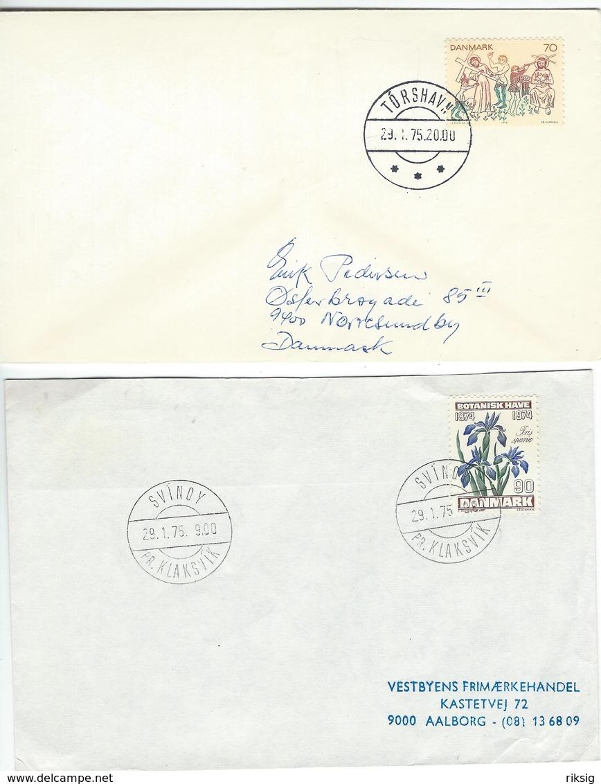 Faroe Islands -  2 Covers Sent To Denmark 1975 H-469 - Faroe Islands