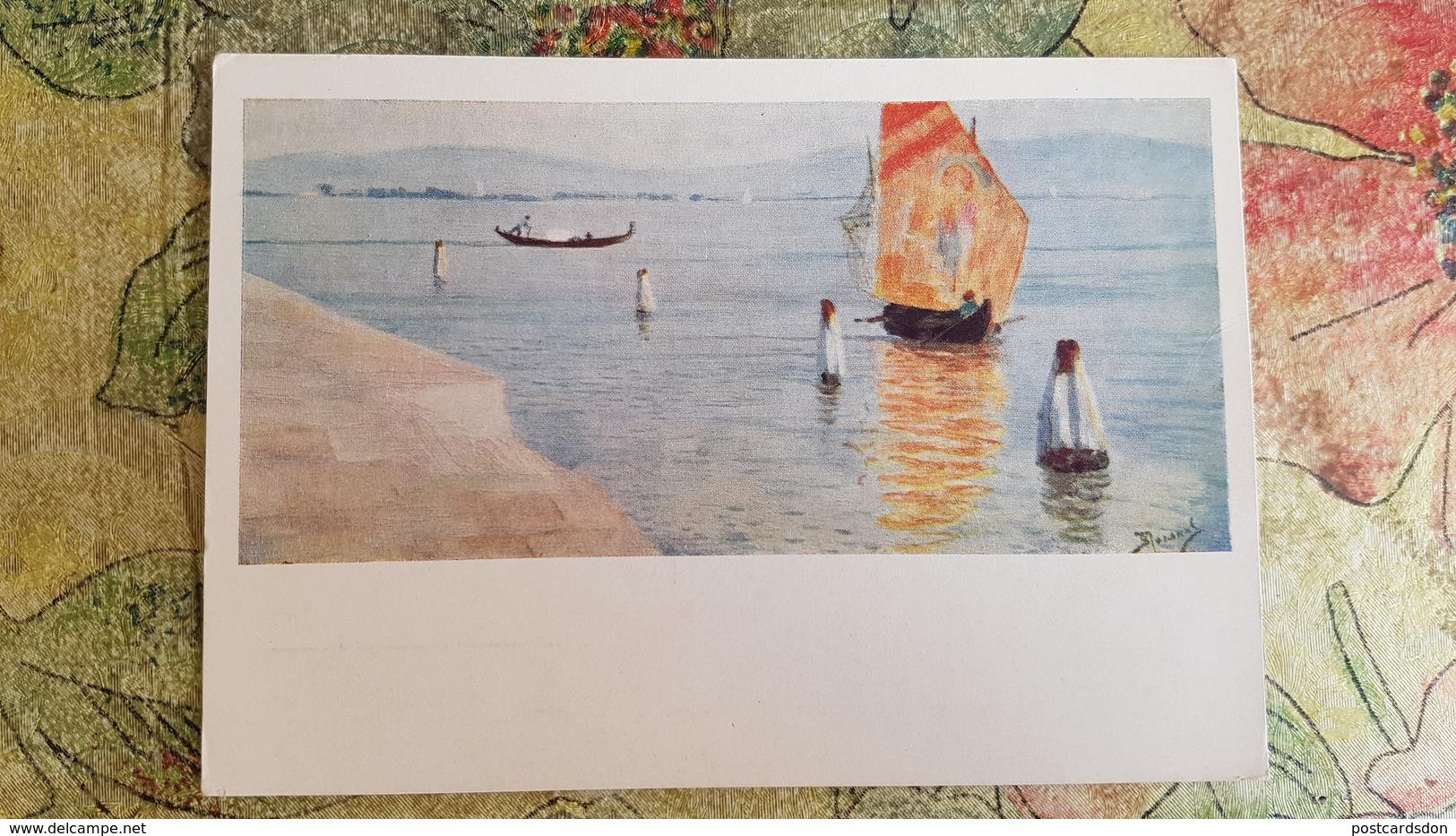 """Italy - """"Lagune In Murano"""" By Polenov / Old Postcard 1955  Landscape - Venezia (Venice)"""