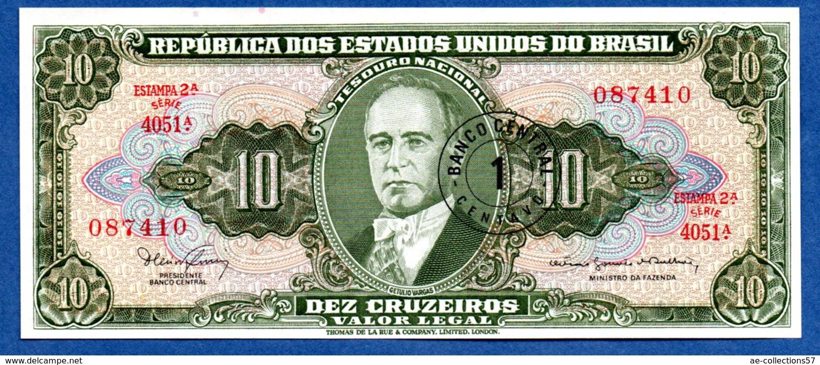 Brésil   -- 1 Centavo On 10 Cruzeiros    --    Pick # 183 -  état  SPL - Brazil