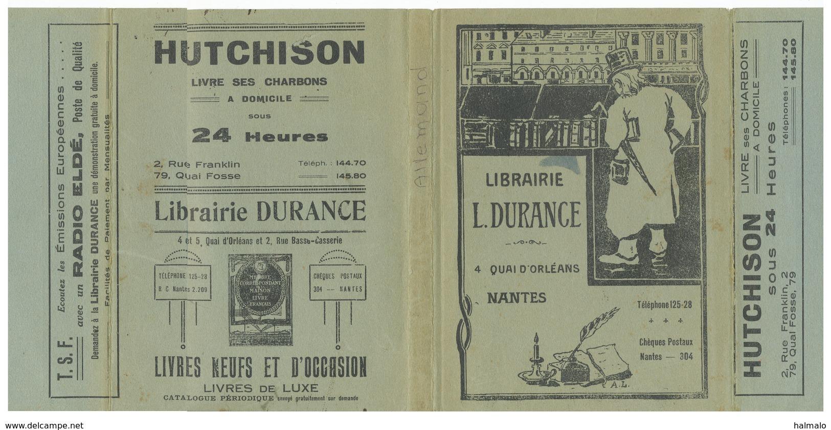 Couvre-livre Couvre-cahier Publicitaire Librairie Durance Nantes - Hutchinson - Radio Eldé - Stationeries (flat Articles)
