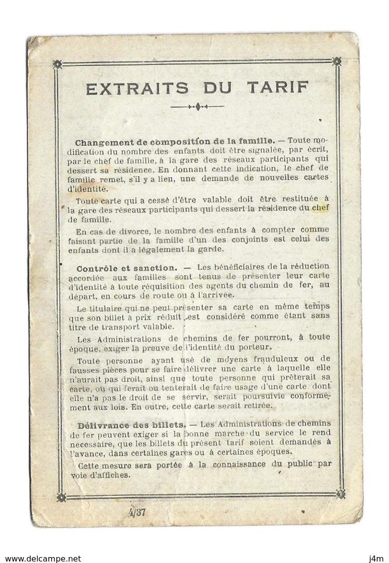 DOCUMENT De 1937...CARTE De REDUCTION 30 % Sur Les CHEMINS De FER SNCF, Mlle VILLIERS à FLERS (61)...2 Scans - Historical Documents