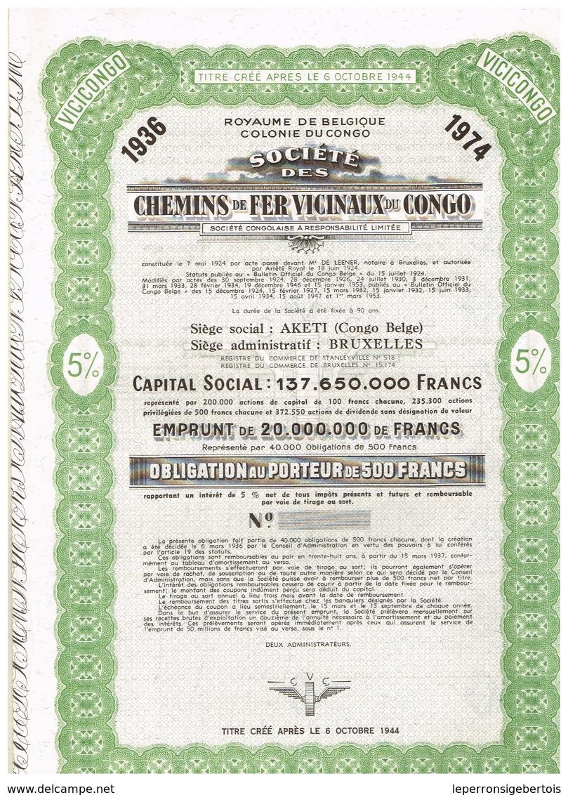 Obligation Uncirculed - Société Des Chemins De Fer Vicinaux Du Congo - Titre De 1936 - Chemin De Fer & Tramway