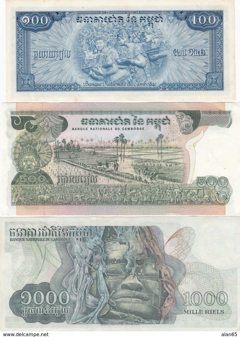 Cambodia Lot Of 3 #13b100 Riels, #16b 500 Riels, #17 1000 Riels 1970s Banknotes - Cambodia
