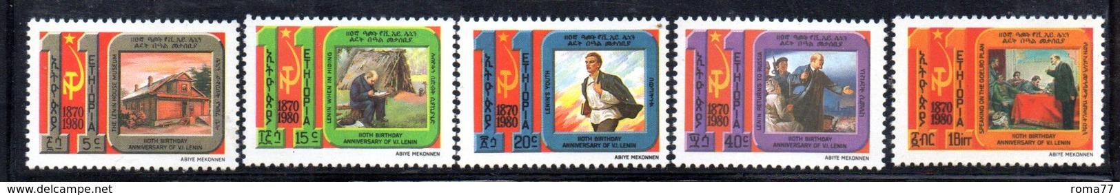 ETP216 - ETIOPIA 1980 ,  Yvert  N. 969/973 *** MNH  LENIN - Etiopia
