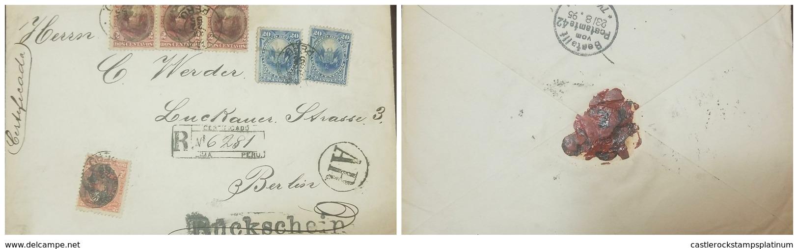 O) 1895  PERU, PRESIDENT REMIGIO MORALES BERMUDEZ 2c - COAT OF ARMS 20c, REGISTERED-CERTIFICATE -AR - RUCKSCHEIN-BERLIN- - Peru